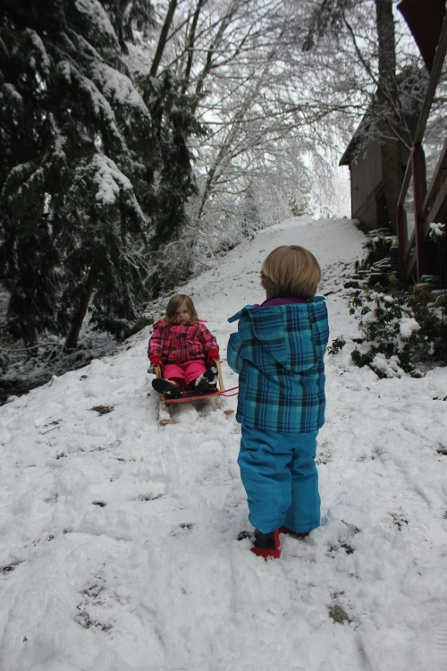 Jack and Kate in our back garden enjoying the Vancouver snow.